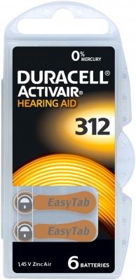 Hörgerätebatterien - Duracell ActivAir Typ 312 Mercury free (6 Stück)