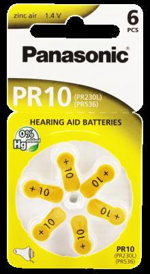Hörgerätebatterien - Panasonic PR 10 Mercury free (6 Stück)