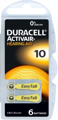 Hörgerätebatterien Sparpaket - Duracell ActivAir Typ 10 MF (30 Stück)