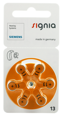 Hörgerätebatterien - Siemens Mercury-Free Typ 13 (6 Stück)
