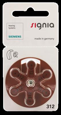 Hörgerätebatterien - Siemens Mercury-Free Typ 312 (6 Stück)