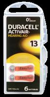 Hörgerätebatterien - Duracell ActivAir Typ 13 Mercury free (6 Stück)