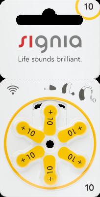 Hörgerätebatterien - Signia (ehem. Siemens) Typ 10 (6 Stück)