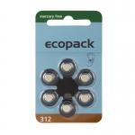 Hörgerätebatterien - Ecopack Mercury-Free Typ 312 (6 Stück)