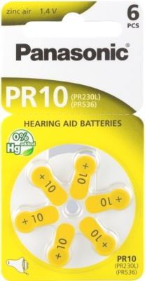 Hörgerätebatterien Sparpaket - Panasonic PR 10 Mercury free (30 Stück)