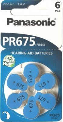 Hörgerätebatterien - Panasonic PR 675 Mercury free (6 Stück)